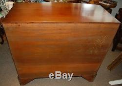 Solid Wood Mahogany Curved Front Chest of 4 Drawers Storage Brass Pulls 2 Tone