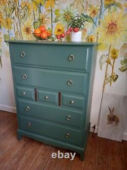 Stag Minstral Tall Boy Vintage Chest of Drawers Painted