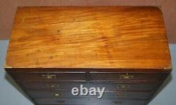 Stunning Vintage Flamed Mahogany Military Campaign Chest Of Drawers Patina