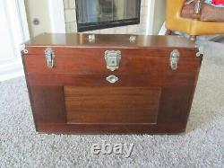 VINTAGE ANTIQUE USA GERSTNER 052 Machinist Wood Tool Chest Box RARE MAHOGANY