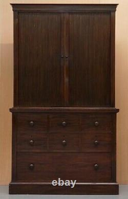 Very Rare Victorian Tambour Door Cupboard Bookcase On Bank Chest Of Drawers