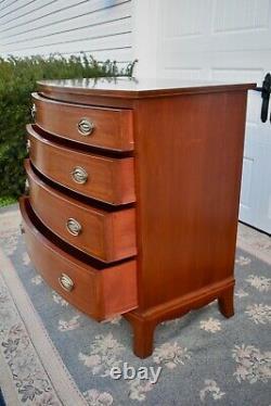 Vintage Biggs Inlaid Mahogany Serpentine Hepplewhite Style Bachelors Chest