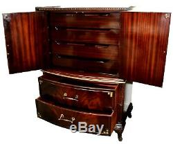 Vintage Chinese Chippendale Flame Mahogany Chest on Chest Armoire