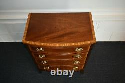 Vintage Council Traditional Style Inlaid & Banded Four Drawer Bachelors Chest