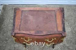 Vintage Inlaid Mahogany French Style Marble Top Bombe' Chest withBrass Ormolu