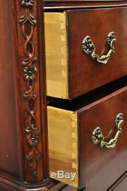 Vintage Mahogany Chippendale Style Tall Chest on Chest Dresser by Century