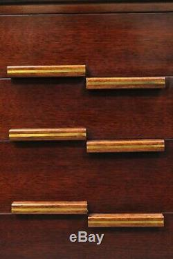 Vintage Mid Century Modern Art Deco Mahogany Tall Chest Dresser with Brass Inlay