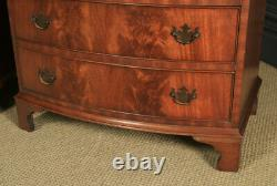 Vintage Pair Georgian Style Flame Mahogany Bow Front Bedside Chests of Drawers
