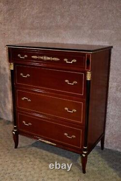 Vintage Rway Empire Style Four Drawer Tall Chest