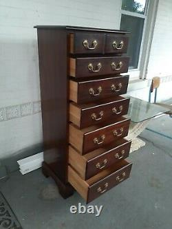 Vintage style Henkel Harris Chippendale Lingerie chest solid mahogany 7drawer
